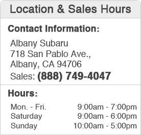 Albany Subaru Sales Department Hours, Location, Contact Information