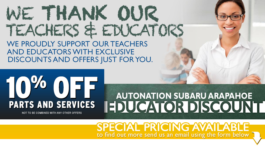 Subaru Teachers and Educators Service & Parts Savings Program serving Englewood, CO