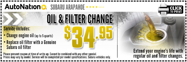 Subaru Oil & Filter Change Service Coupon Special Englewood, Colorado