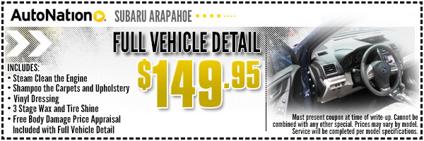 Vehicle Detail Service Special from AutoNation Subaru Arapahoe in Englewood, Near Parker, Colorado
