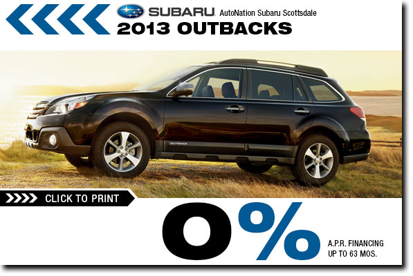 Phoenix New 2013 Subaru Outback Model Vehicle Finance Special Offer serving Scottsdale & Glendale, Arizona