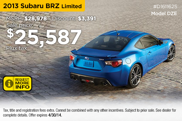 2014 Subaru Brz Finance Special Golden Co Denver New