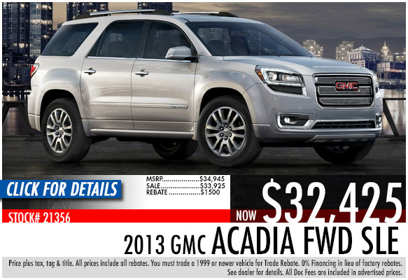2013 GMC Acadia FWD SLE Sale Special serving Atlanta, Georgia at Bellamy Strickland Chevy Buick GMC