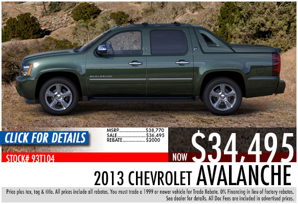 2013 Chevrolet Avalanche Sale Special serving Atlanta, Georgia at Bellamy Strickland Chevy Buick GMC
