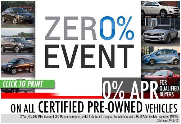 Chevrolet Dealers In Atlanta >> Zero Percent Financing Certified Pre-Owned Vehicle Special near Atlanta, Georgia