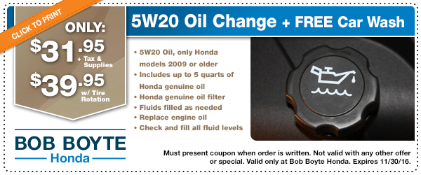 Honda conventional oil change service special jackson for Honda oil change printable coupon