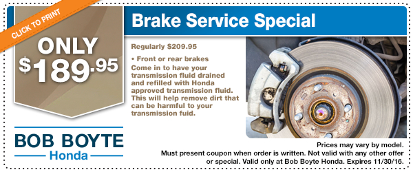 Honda brake system service special coupon brandon for Brandon honda service hours