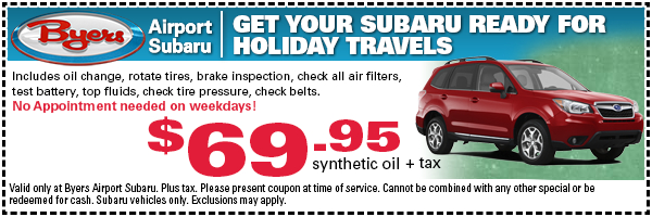 Holiday Travels savings on Subaru service - print this special offer and save in Columbus, OH
