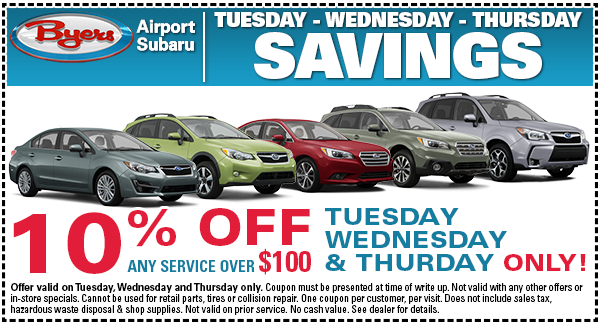 Click to print this valuable service coupon - save on Subaru service performed midweek in Columbus, OH