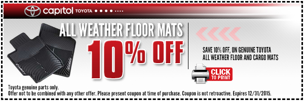 Genuine Toyota Floor Mats Accessory Discount Coupon