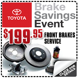 Click to see how much you can save with this special offer on Toyota front brakes service at Capitol Toyota in Salem, OR