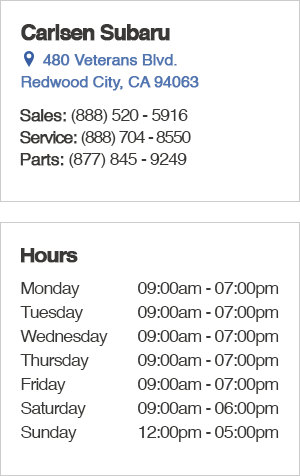 Carlsen Subaru Sales Department Location, Hours, Contact Information