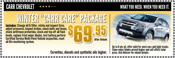 Chevrolet Winter Carr Care Service Special Beaverton, OR
