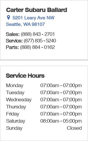 Carter Subaru Ballard Service Hours and Location
