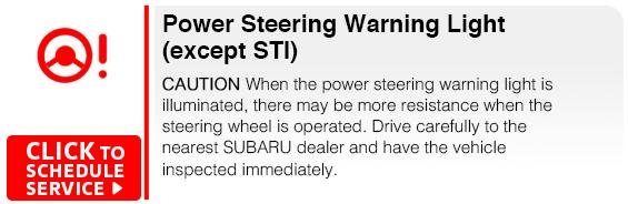 Subaru Power Steering Warning Light