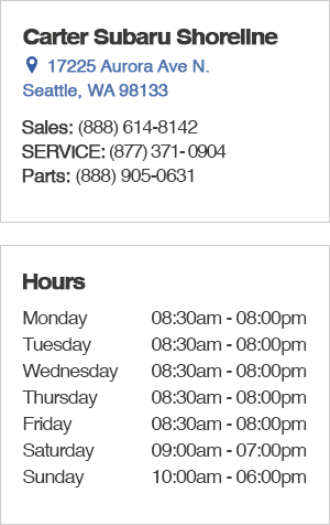 Carter Subaru Shoreline Seattle Sales Hours
