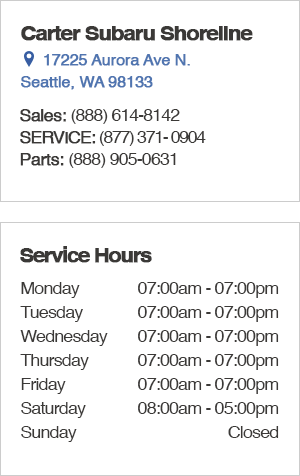 Carter Subaru Shoreline Seattle Service Hours, Location, Contact Information