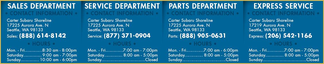 Carter Subaru Shoreline All Department Hours &  Location