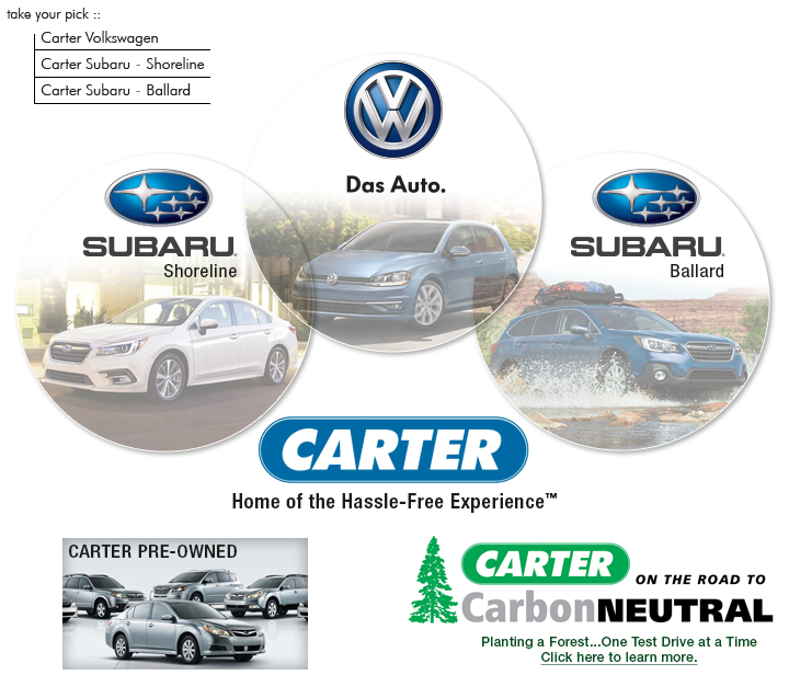 Subaru Dealership Seattle >> Carter Seattle Your Seattle Volkswagen And Seattle Subaru Dealer