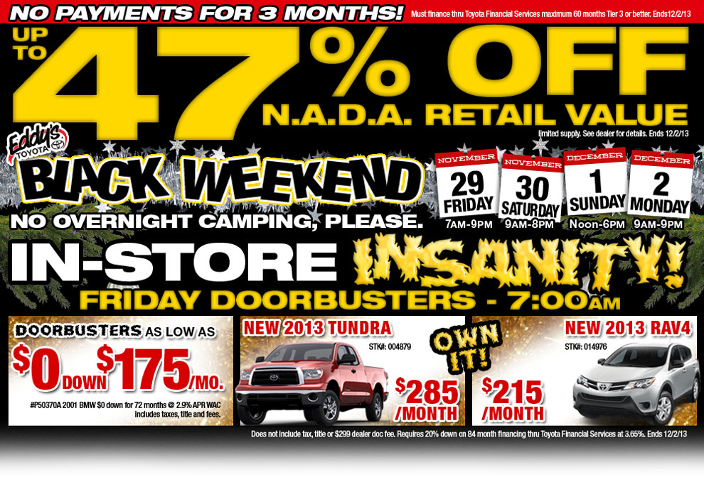 wichita toyota black friday specials new vehicle discount deals offers. Black Bedroom Furniture Sets. Home Design Ideas