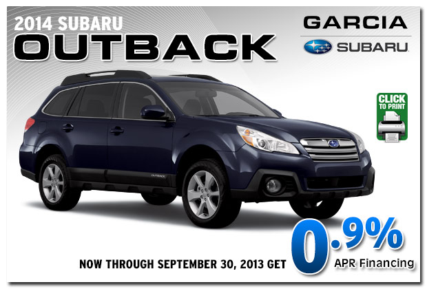 New 2014 subaru outback special discount offers for Subaru motors finance address