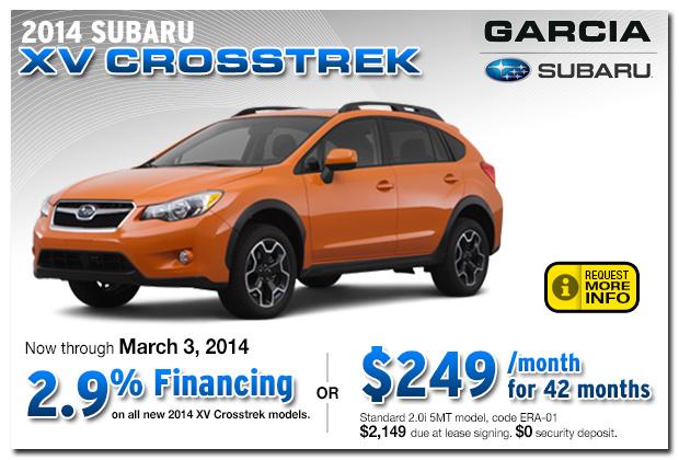 New 2014 subaru xv crosstrek sales finance special for Subaru motors finance payments