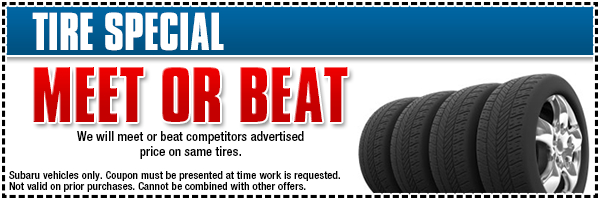 We will meet or beat competitors' offers on tire installation for your Subaru at Gold Rush Subaru serving Georgetown, CA