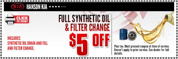 Kia oil lube service special olympia wa car repair for Hanson motors service department
