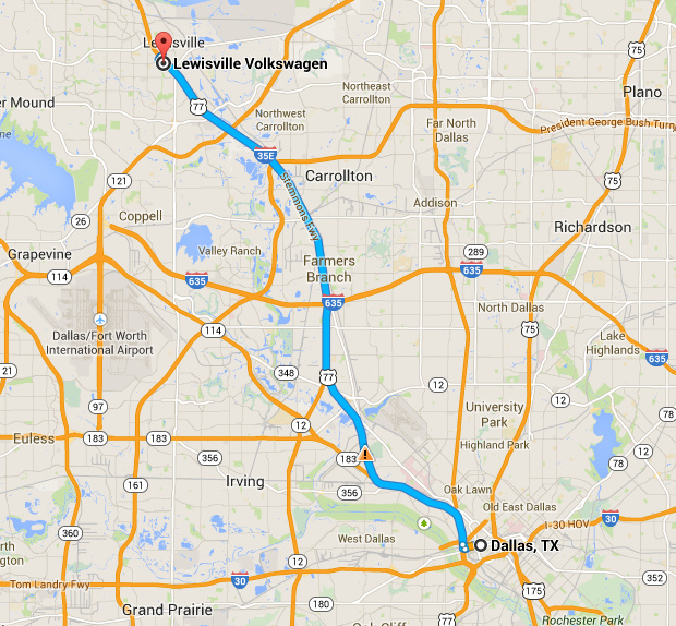 Get Directions To Hendrick Volkswagen Lewisville From