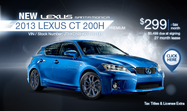 New 2013 Lexus CT Hybrid Regional Special Lease Offer serving Los Angeles, California