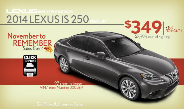 Lexus Is 250 Lease Specials Los Angeles