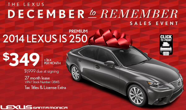 New 2014 Lexus IS 250 Lease Special Serving West Hollywood U0026 Los Angeles, CA