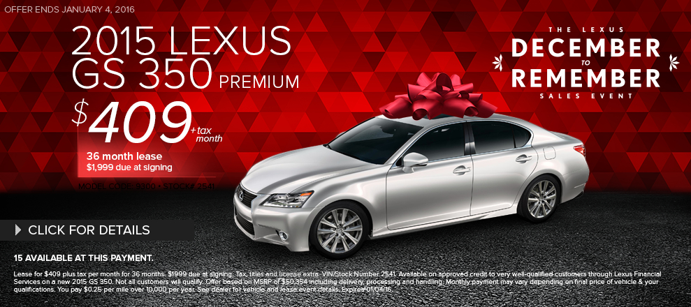 New 2015 Lexus GS 350 Lease Special Serving Santa Monica, CA