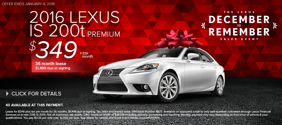 New 2016 Lexus IS 200t Lease Special Serving Santa Monica, CA
