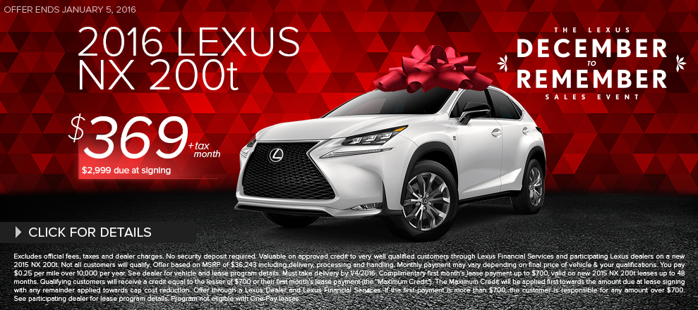 Click To View 2016 Lexus NX 200t Lease Special In Santa Monica, CA