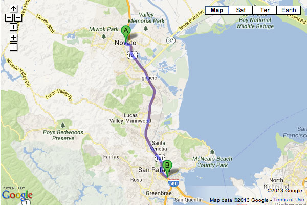 Driving Directions from Novato to San Rafael, CA