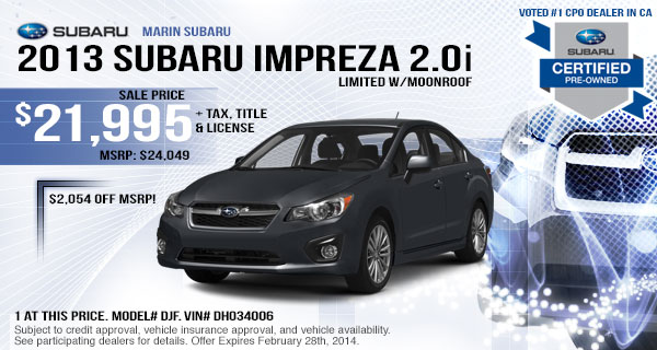2013 Subaru Impreza 2.0i Limited Lease Offer serving Albany & San Rafael, CA