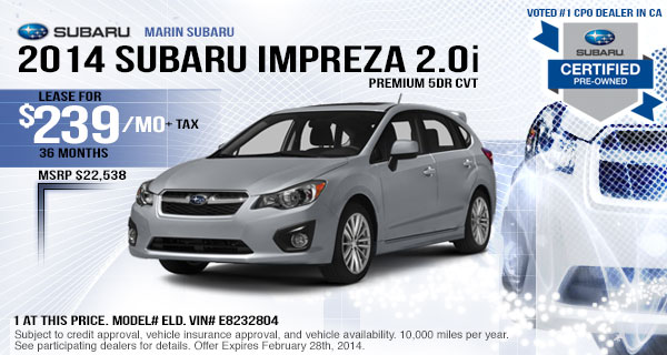 2014 Subaru Impreza 2.0i Premium Lease Offer serving San Francisco & San Rafael, CA