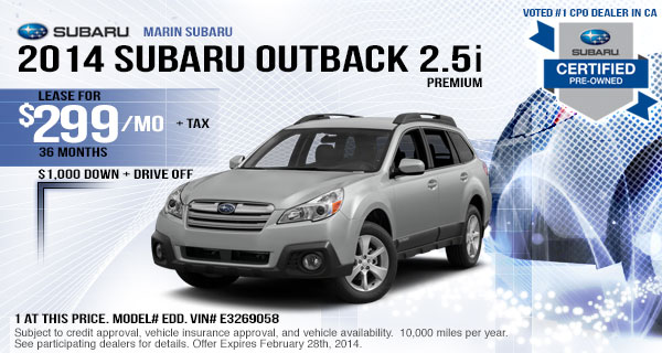 New 2014 Subaru Outback Lease Special serving Albany & San Rafael, CA
