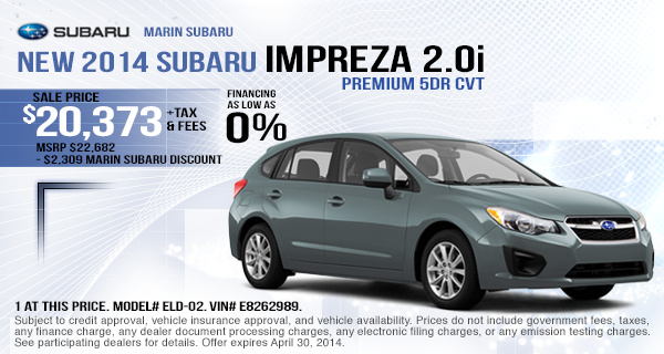 2014 Subaru Impreza Sales & Finance Offer serving Oakland & San Rafael, CA