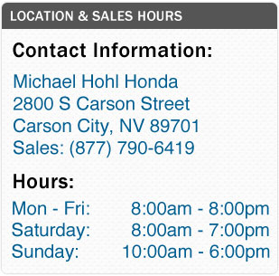 Michael Hohl Honda Sales Hours and Location Carson City