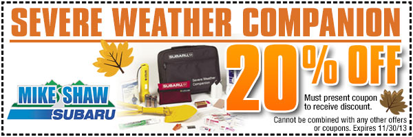 Be Winter Ready Subaru Severe Weather Companion Special Discount Coupon