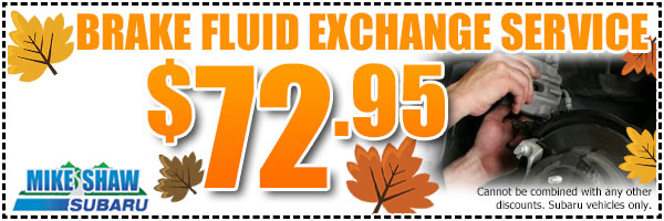 Subaru Brake Fluid Exchange Service Coupon Special Denver, CO