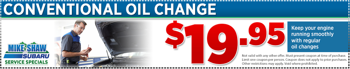 $19.95 Conventional Subaru Oil Change Coupon at Mike Shaw Subaru serving Denver, CO