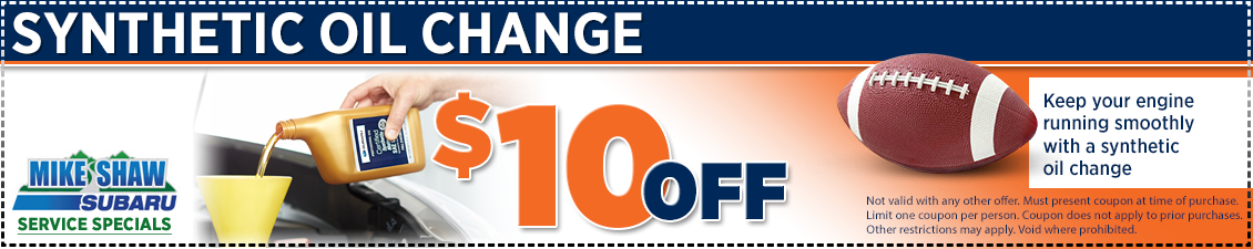 Discount special offer on a Subaru synthetic oil change at Mike Shaw Subaru in Thornton serving Denver, CO