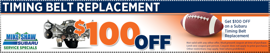 Discount special offer on a Subaru timing belt replacement at Mike Shaw Subaru in Thornton serving Denver, CO
