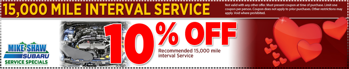 Save with this special offer on Subaru 15,000 mile interval service from Mike Shaw Subaru serving the Denver, CO metro area