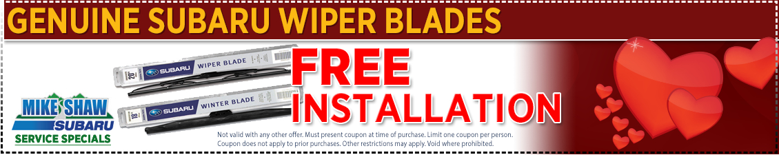 Save with this special offer on Subaru windshield wiper installation service from Mike Shaw Subaru serving the Denver, CO metro area