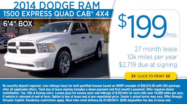 Best lease deals dodge ram