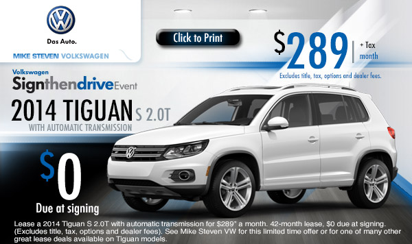 new 2014 volkswagen tiguan low payment lease specials. Black Bedroom Furniture Sets. Home Design Ideas